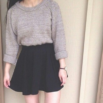 wool skirt sweater grey long sleeves skater skirt winter sweater top fall outfits oversized sweater greyish dark idk jewels grey sweater cute warm gray sweaters winter outfits mode fashion glamour romantique chic black romantic girl beautiful black skirt