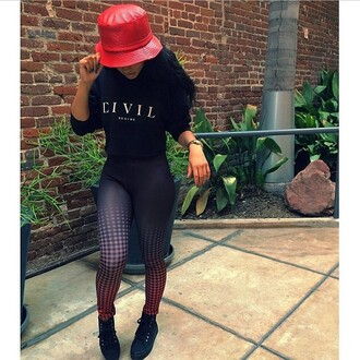 pants kayla phillips shirt shoes bucket hat printed leggings