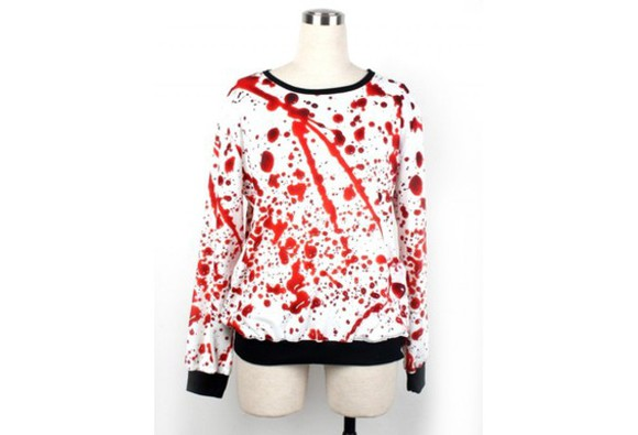 sweater comfortable blood printed hoodie printed sweater spring outfits fall outfits women's fashion