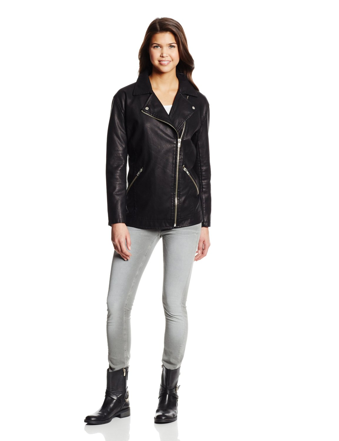 BB Dakota Women's Atleg Vegan Leather Moto Jacket at Amazon Women's Clothing store: