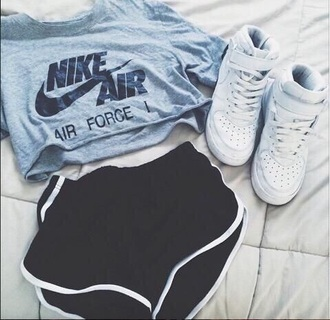 top nike nike air force t-shirt crop tops shorts shoes sportswear sports shorts shirt sneakers nike shorts nike shirts nike shoes for women nike shoes womens roshe runs nike air cropped white nike high tops baddies outfit grey top nike sportswear