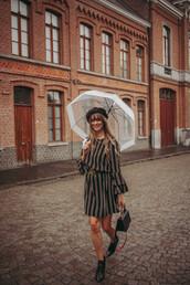 dress,striped dress,mini dress,bell sleeves,logo belt,beret,umbrella,boots,handbag