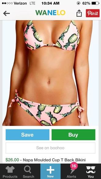 swimwear pink pineapple bikini top
