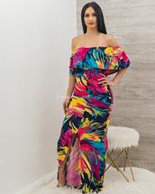 dress,moda fina boutique,zuri leaf print maxi dress