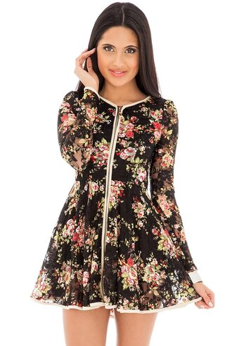 dress floral skater zip front long sleeves flattering mini