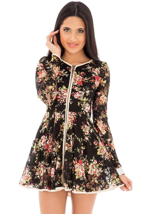 dress floral skater zip front long sleeves flattering mini