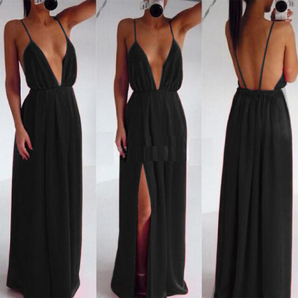 deep v neck dress maxi skirt maxi dress long dress deep v v neck cleavage plunge neckline split dress