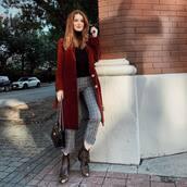 coat,long coat,wool coat,checkered pants,cropped pants,ankle boots,shoulder bag,turtleneck
