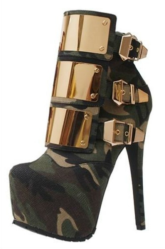 Gold strapped camo booties