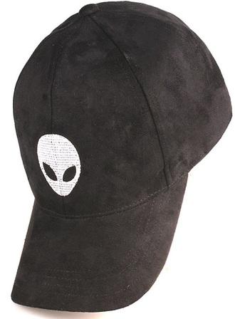 hat suede alien cap black free vibrationz