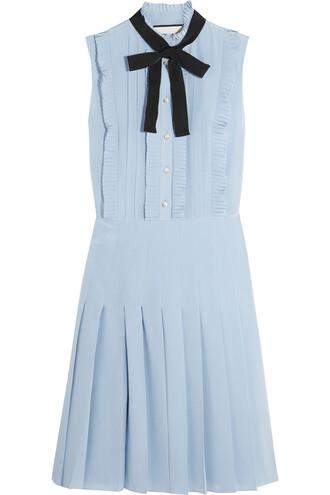 dress mini dress mini pleated silk blue sky blue