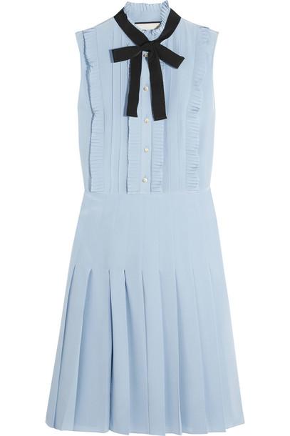 4d4599867 gucci Gucci Ruffled Pleated Silk Crepe De Chine Mini Dress in blue