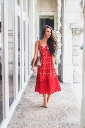 sunshine&stilettos,blogger,dress,jewels,bag,shoes,make-up,red dress,pumps