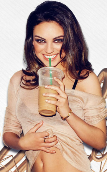 shirt see through mila kunis peach blouse off the shoulder over sized jewels