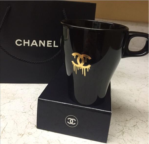 51bb187ec32 home accessory, coffee, mug, cup, chanel, black, gold, slag, fancy ...