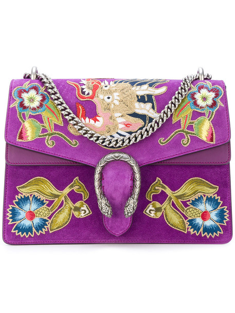 gucci women bag shoulder bag suede purple pink