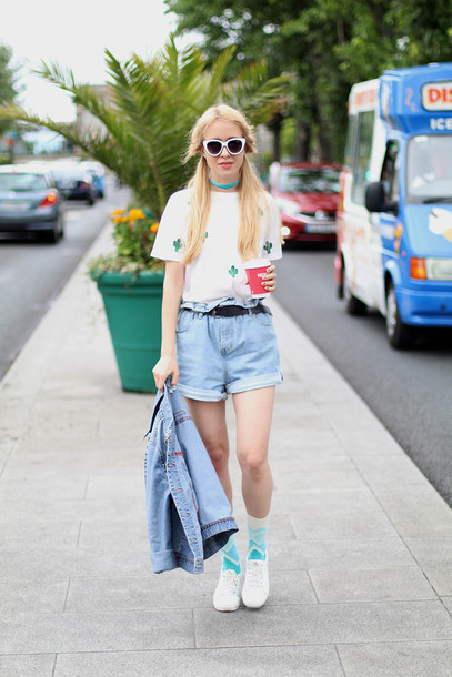 anna pogribnyak city fashion: my vision blogger t-shirt shorts socks jewels
