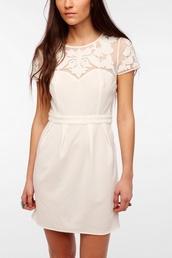 dress,white dress,graduation dress,mesh,cream dress