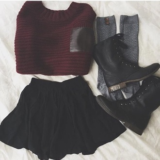 tank top black red skirt boots fall outfits outfit