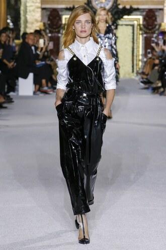 jumpsuit natalia vodianova model balmain paris fashion week 2017 black black top shirt top pvc runway