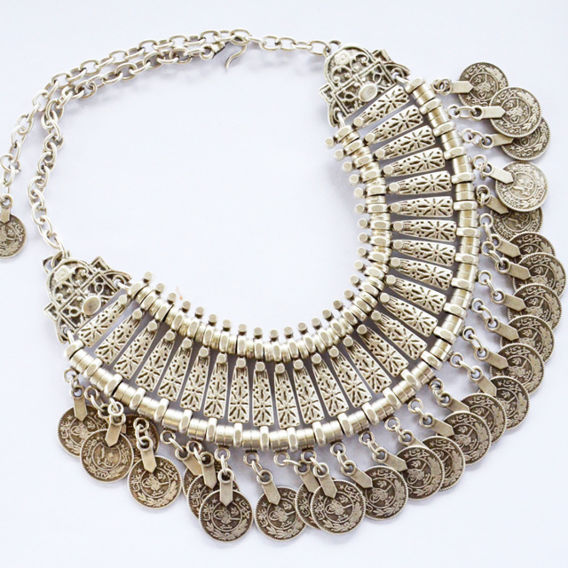 'ZASHAIA' ➳ TURKISH SILVER COIN COLLAR NECKLACE - shantique designs