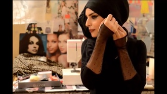 gloves black lace fingerless hijab