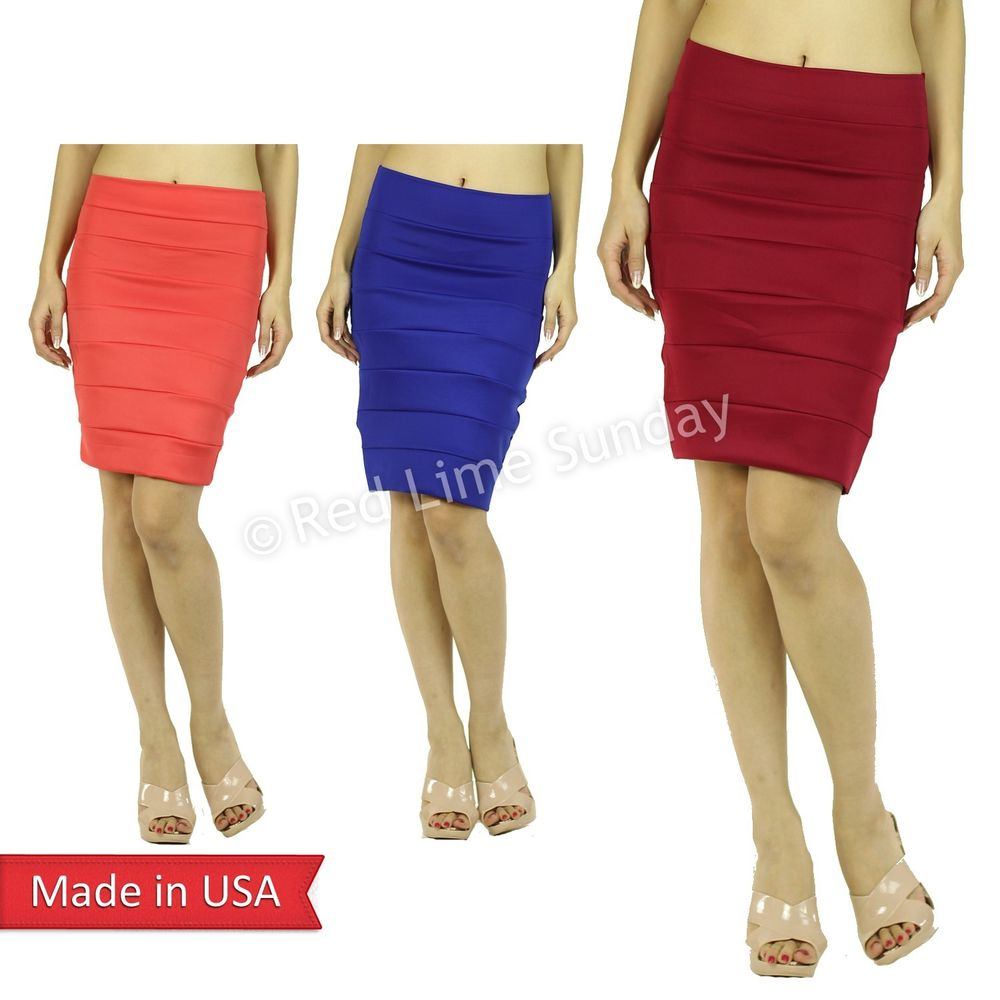 Woman Slim Fitted Color Stripe Bodycon Thic Fabric Tube Pencil Mini Skirt USA