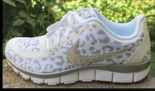 shoes,nike shoes,lepoard print,gold and white,rhinstones