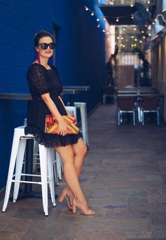 thestyledfox blogger dress jewels bag shoes sunglasses sandals mini dress black dress summer outfits clutch