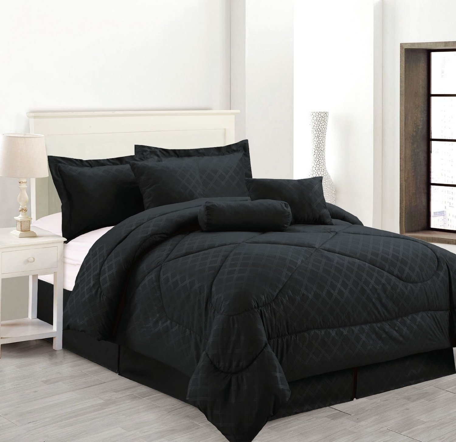 Amazon.com: Luxury Hotel 7-Pc Embossed Solid Comforter Set (Queen Size, Black): Bedding & Bath