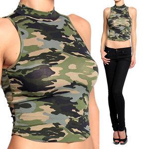 9a76b9d99a805 Themogan Ladies Army Camouflage Print Mock Neck Crop Tank Top ...