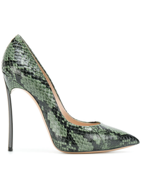 CASADEI snake women king pumps leather green shoes
