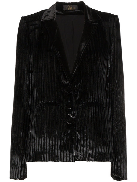 De La Vali jacket women stripes black silk velvet