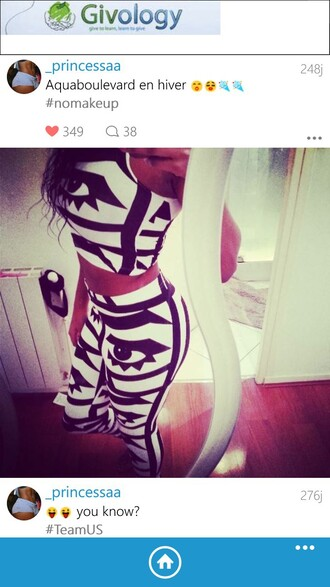 amazing eyes fashion black and white jumpsuit two-piece american apparel crop tops leggings model instagramfashion
