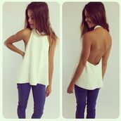 shirt,backless,open back,white,halter neck,sheer,cream,halter top,halter neck top,low back,low back shirt,low cut shirt,low cut top,low cut halter top,white blouse,white dress shirt,white shirt,cream shirt,cream blouse,cream halter top,pretty,cute,blouse,top,jeans,backless top,tank top,t-shirt,white dress,white t-shirt,white tee,white sleeveless shirt,white sleeveless top,backless dress,white tank top,cute tank tops,selena white tank summer,coat,white top,girl,girly,girly wishlist