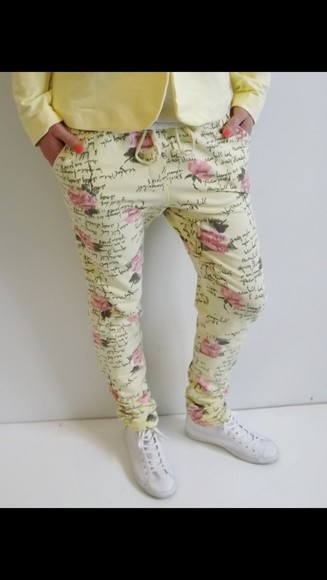 pants baggy pants floral summer fancy pants