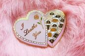 jewels,badge,pink,pins,chocolate,heart,valentines day gift idea,etsy