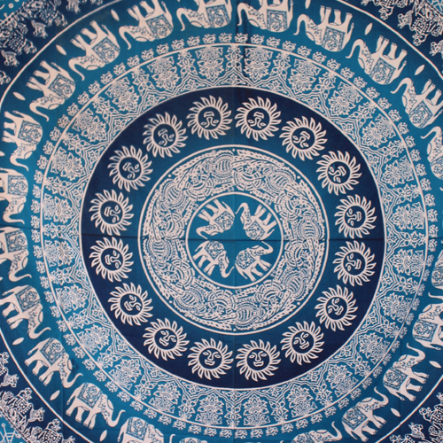 Blue and White Elephants Print Mandala Wall Tapestry @ HandiCrunch