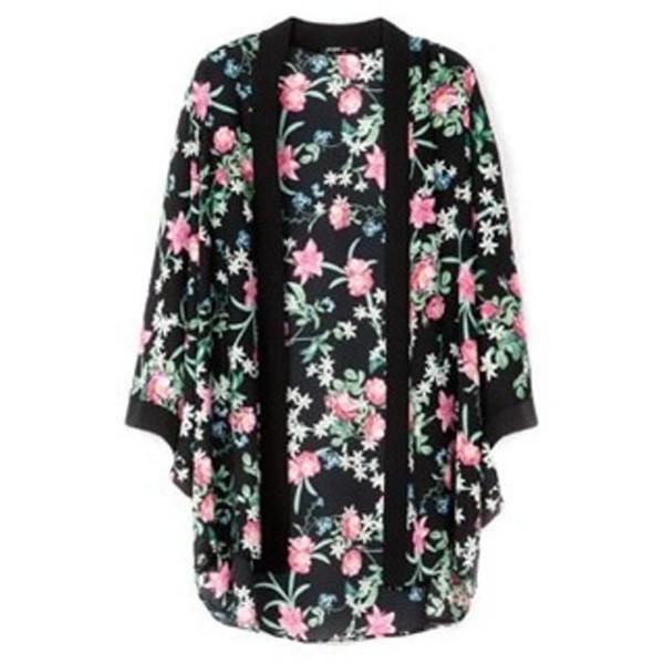 cardigan fleur kimono fleurie bershka