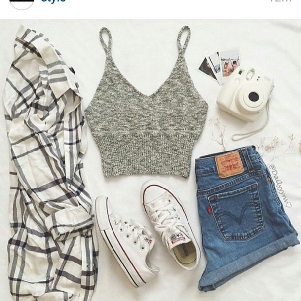 Top grey summer perfect outfit grey crop tops shirt for T shirt dress outfit tumblr