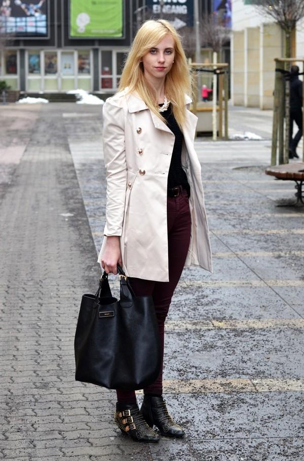 vogue haus coat sweater pants shoes bag jewels belt