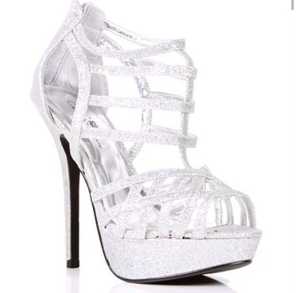 Shoes Silver Shoes High Heels Prom Diamonds Wheretoget