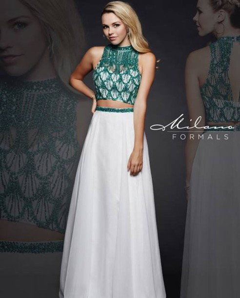 Green and White Prom Dresses
