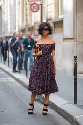 dress,off the shoulder,off the shoulder dress,lovely,midi dress,floral dress,purple dress