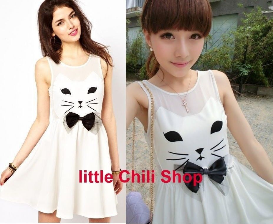 Girls Kawaii Cute Sweet Dolly Lolita Princess Slim Print Cat Sleeveless Dress