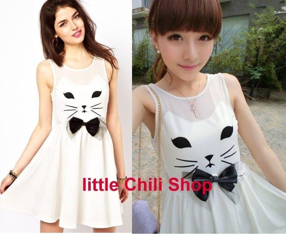 Girls Kawaii Cute Sweet Dolly Lolita Princess Slim Print Cat Sleeveless Dress