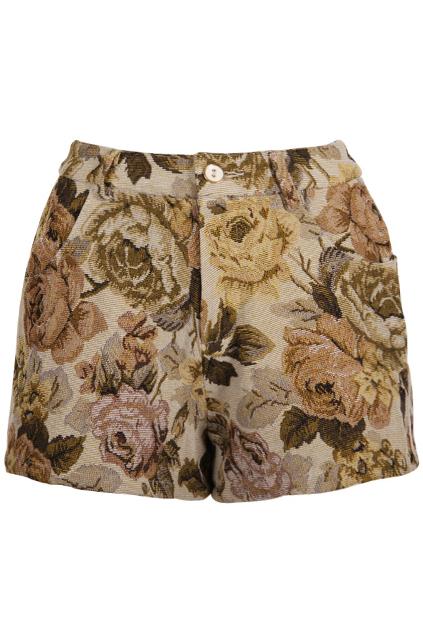 Brown flower retro beige short, the latest street fashion