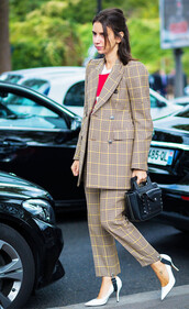 pants,stirrup pants,printed pants,tartan,plaid,matching set,coat,printed coat,pumps,pointed toe pumps,high heel pumps,white heels,shoes,bag,black bag,streetstyle,tumblr