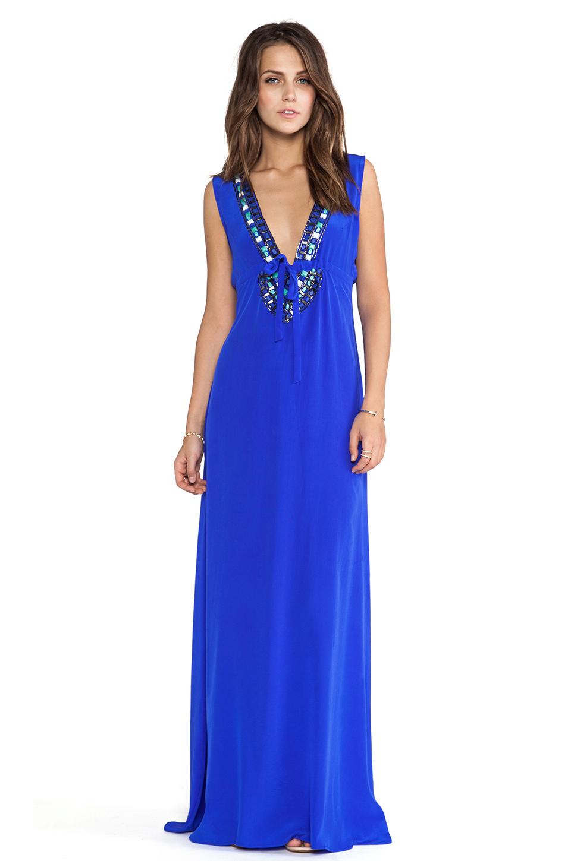 Karina Grimaldi макси платье с отделкой бисером skyler в цвете Кобальт | REVOLVE