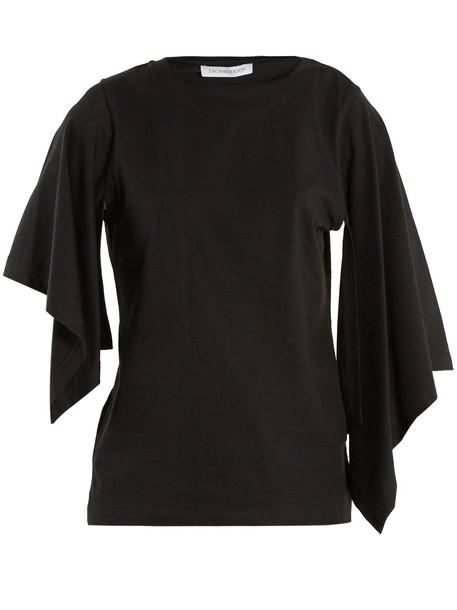 t-shirt shirt cotton t-shirt t-shirt draped cotton black top